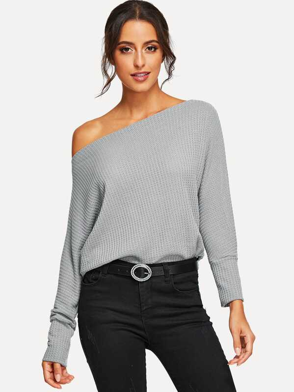 Oblique Shoulder Dolman Sleeve Jumper, Grey, Mary P.