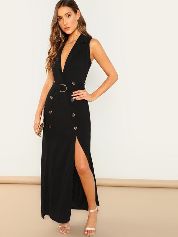 Notch Neck Button Detail Adjustable Belted Slit Dress by Shein