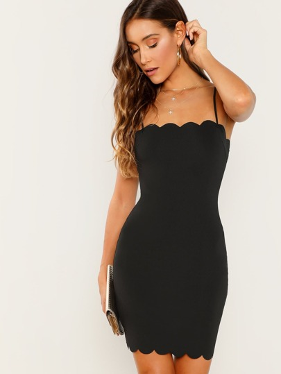 Scallop Trim Bodycon Cami Dress 2be2b95df