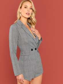 ed59968e8553 Double Breasted Fitted Plaid Blazer Romper