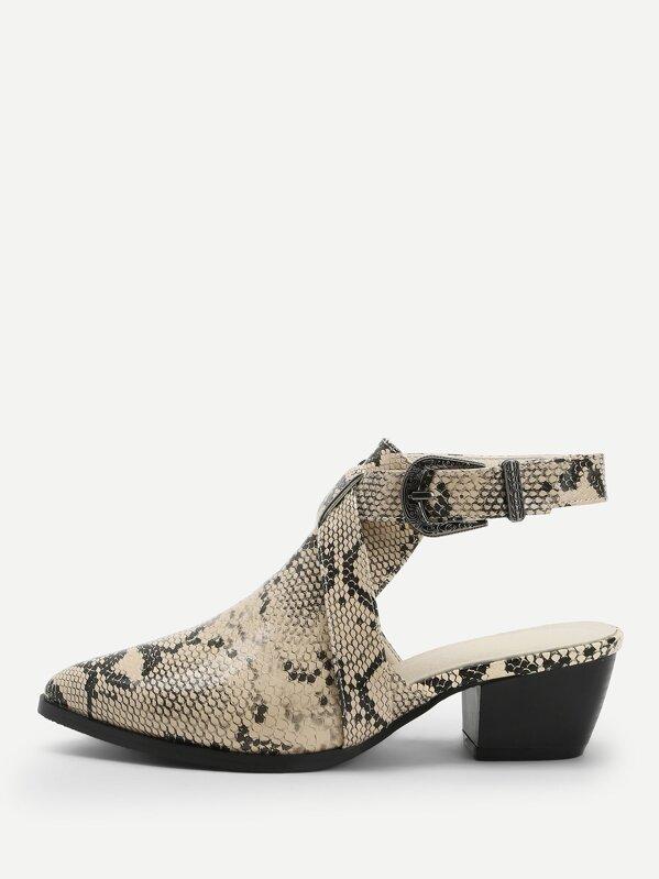 snakeskin-pattern-slingback-boots by sheinside