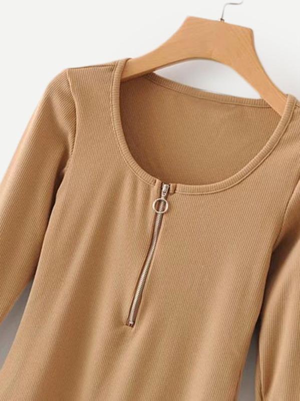 77b528468f Zip Up Slim Fit Bodysuit -SHEIN(SHEINSIDE)
