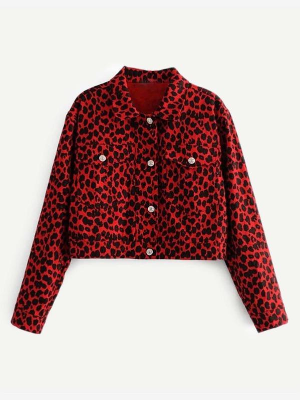 Leopard Print Pocket Front Jacket by Sheinside
