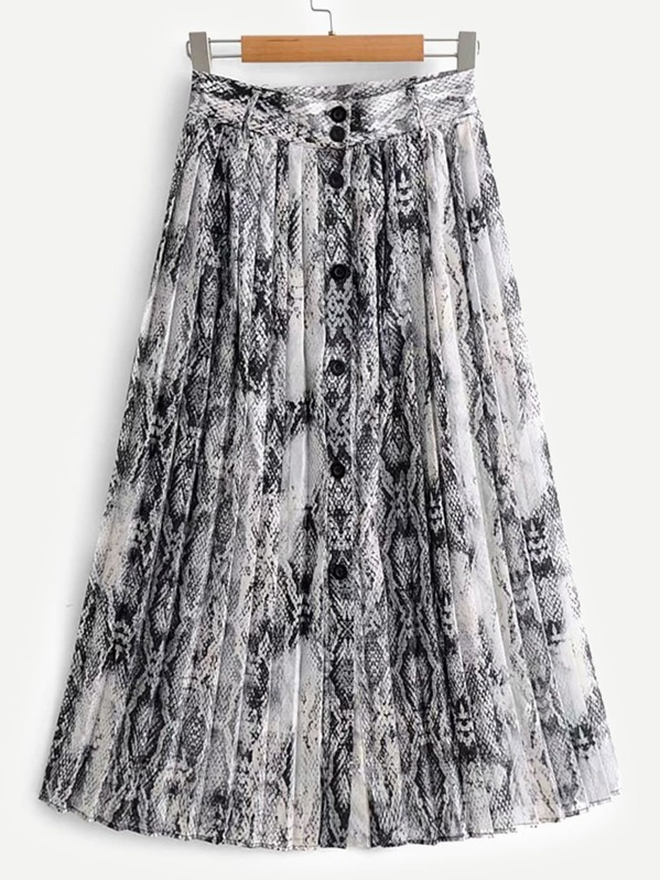 Snakeskin Print Pleated Skirt by Sheinside