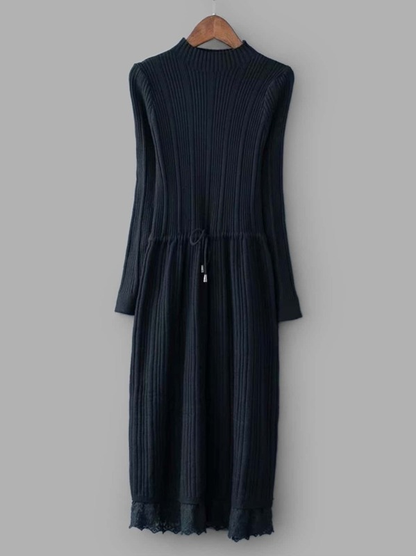 30c72d1bad5 Lace Trim Drawstring Waist Solid Sweater Dress