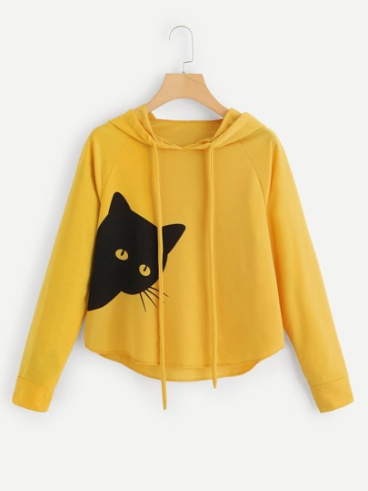 Cat Print Hooded Sweatshirt f16241c4f