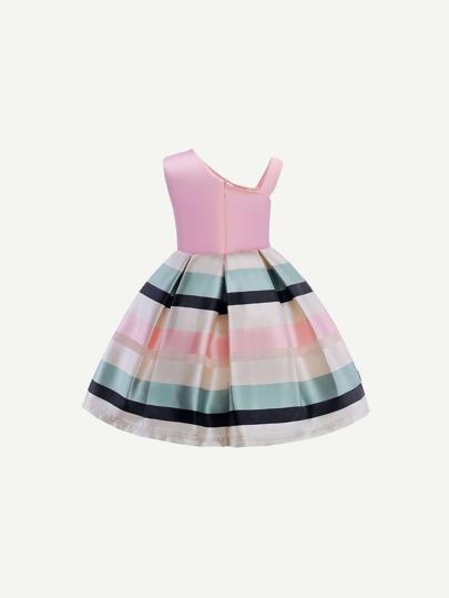 131c84547e Festa Listrado Pérolas Uma Linha Rosa Vestido Infantil Menina