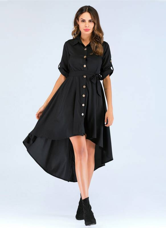 Single Breasted Belted Dip Hem Dress