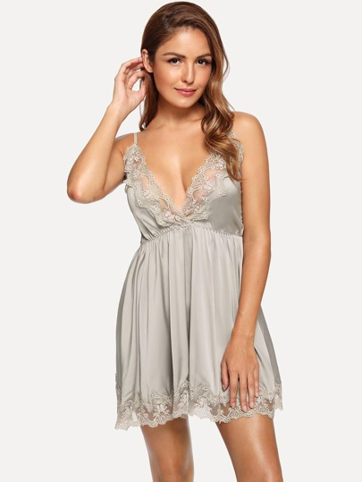 0c7437aa50cc Contrast Lace Cami Dress With Panty
