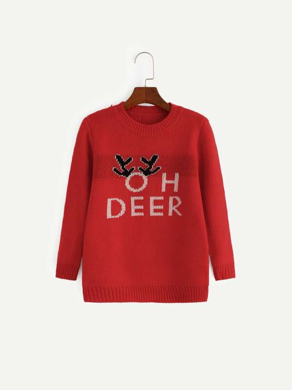 Girls Letter Print Sweater, Red