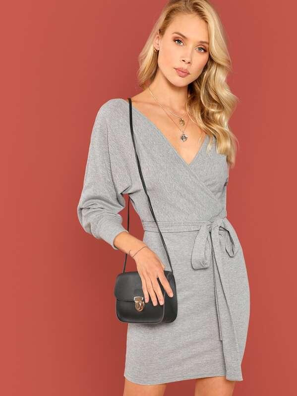 Surplice Wrap Dolman Sleeve Rib Knit Dress by Shein