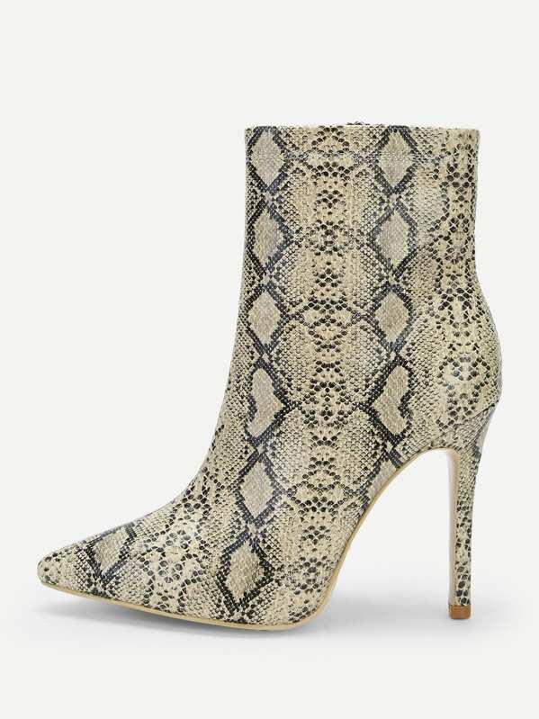 1ee1c12f4e5 Snakeskin Pattern High Heel Boots -SheIn(Sheinside)