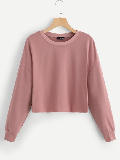 Drop Shoulder Solid Crop Pullover cf6cdff11
