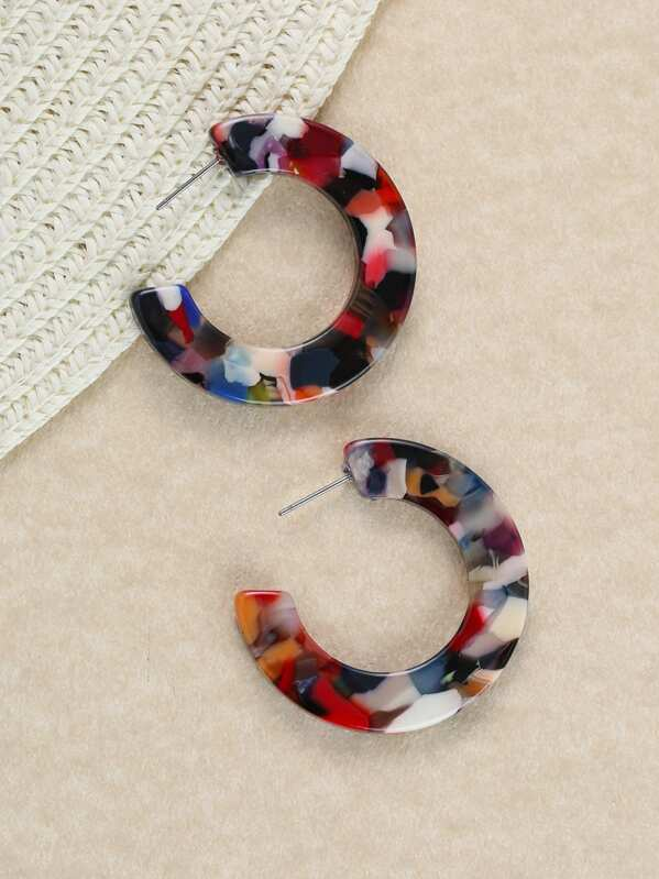 Acetate Multi Colored Partial Hoop Earrings by Sheinside