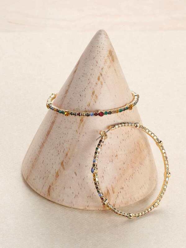 Colored Rhinestone Detail Gold Large Hoop Earrings by Sheinside