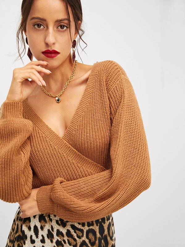 Surplice Neck Knot Crop Sweater by Shein