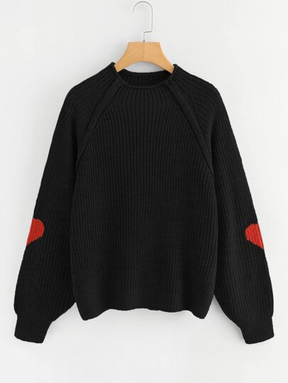 894c1bcac7 Heart Insert Raglan Sleeve Sweater