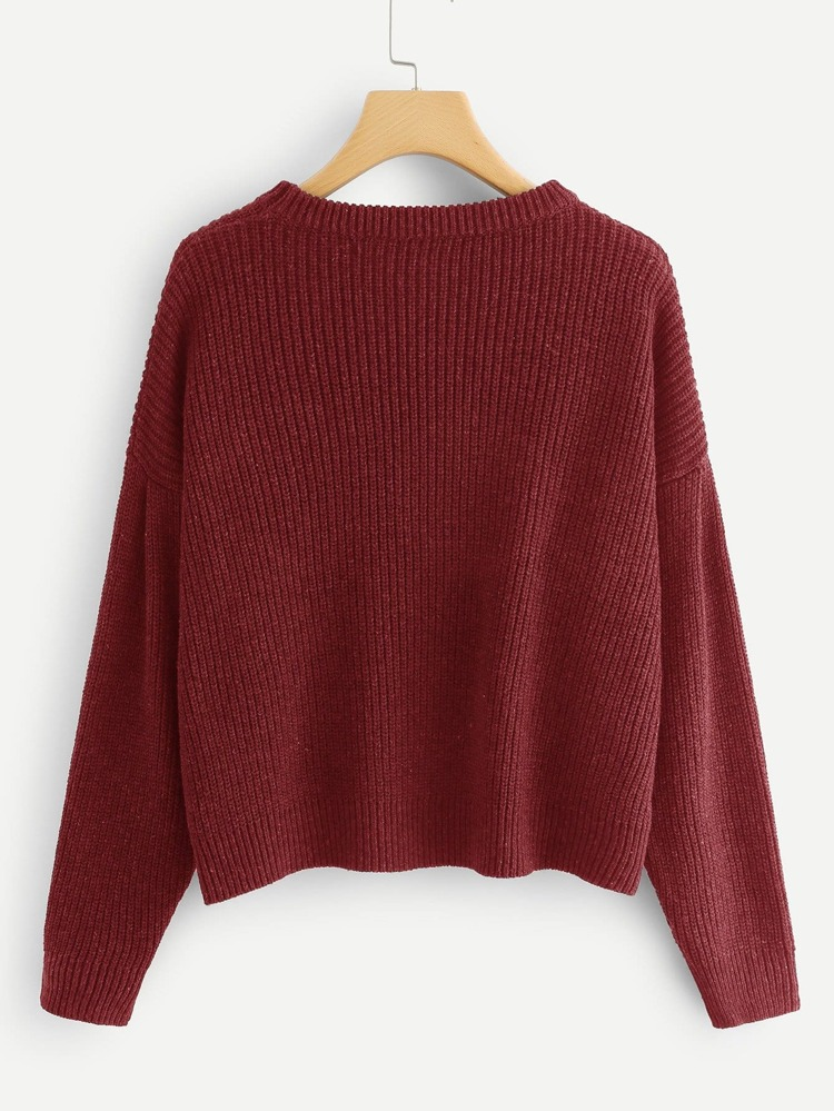e7d9c611a7b Drop Shoulder Round Neck Sweater