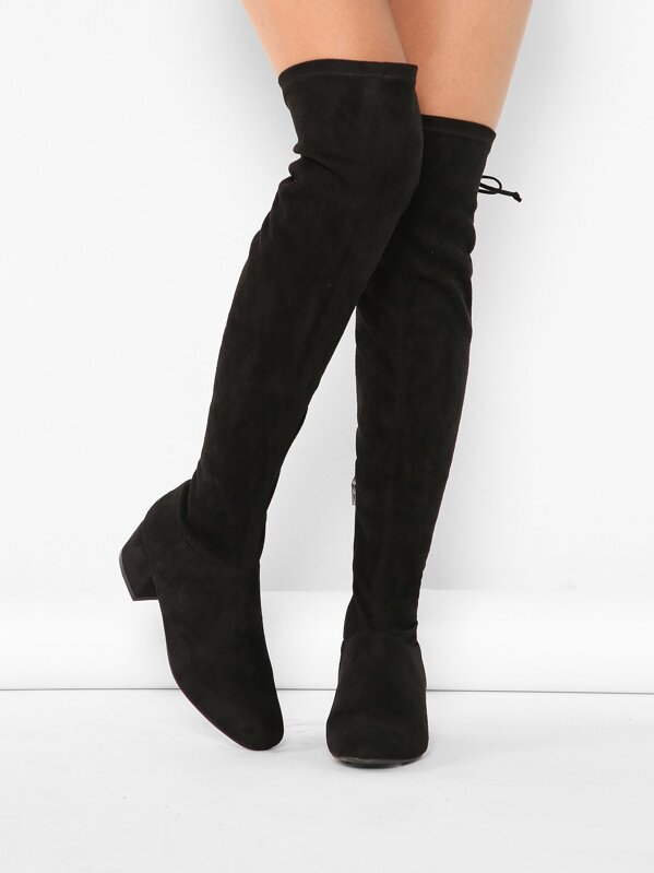 Pointy Toe Chunky Low Heel Thigh High Boots  3ca4270cd