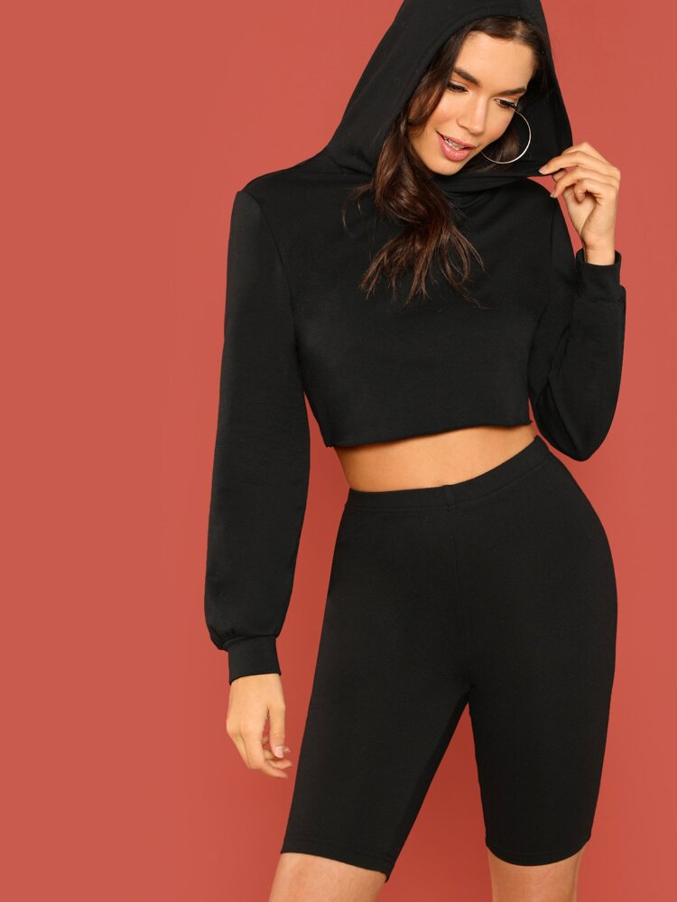 d5e33048fea Solid Crop Hoodie and Leggings Shorts Set