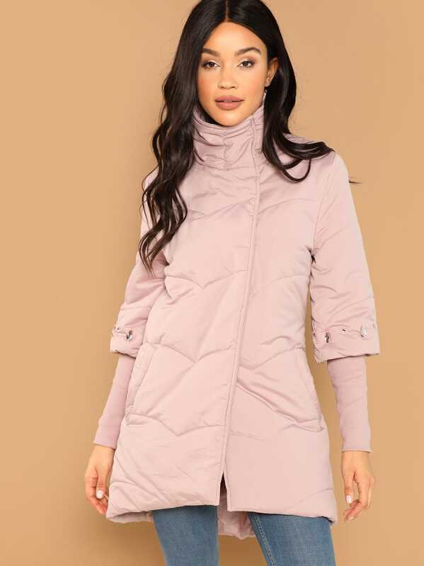 Rhinestone Detail High Neck Padded Coat by Shein