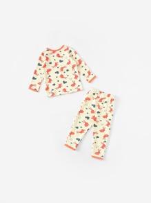 c5cc1dcab129 Toddler Girls Rabbit   Heart Print Pajama Set -SheIn(Sheinside)