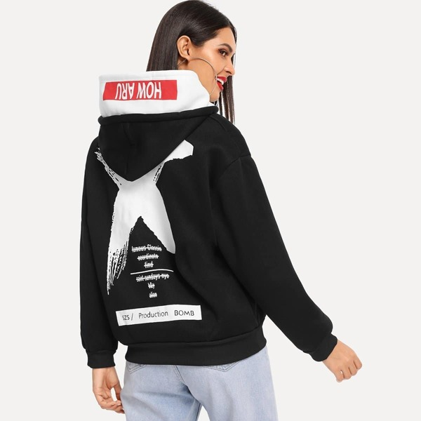 Letter Graphic Kangaroo Pocket Drawstring Hoodie, Black