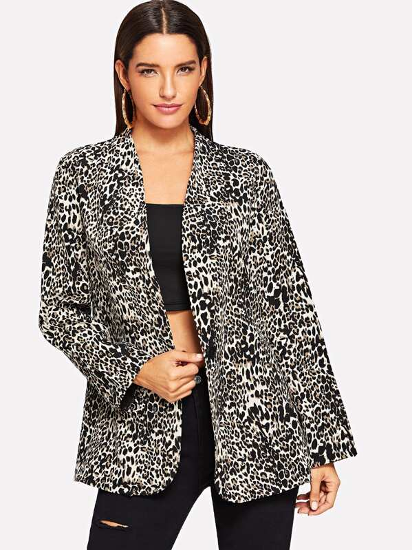 Leopard Print Single Button Blazer