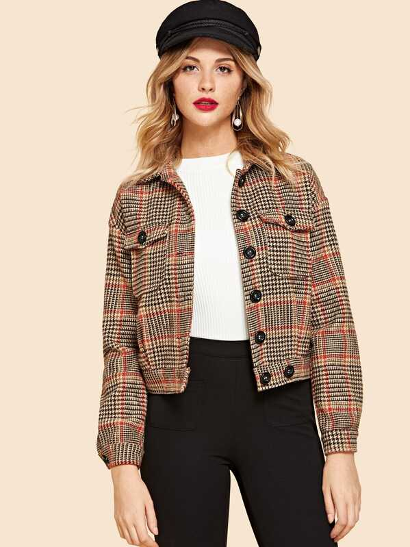 Flap Pocket Front Houndstooth Jacket by Shein