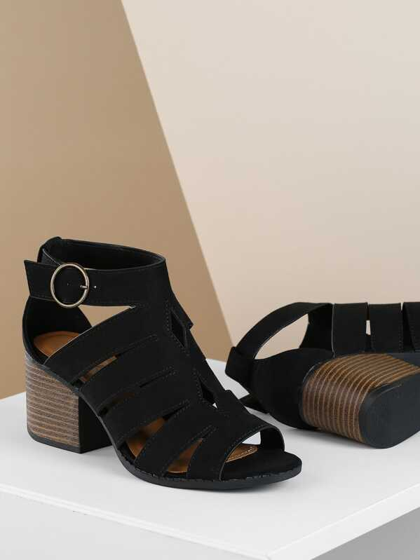 bbfe0b5071e Caged Cut Out Side Buckle Chunky Heel Sandals -SHEIN(SHEINSIDE)