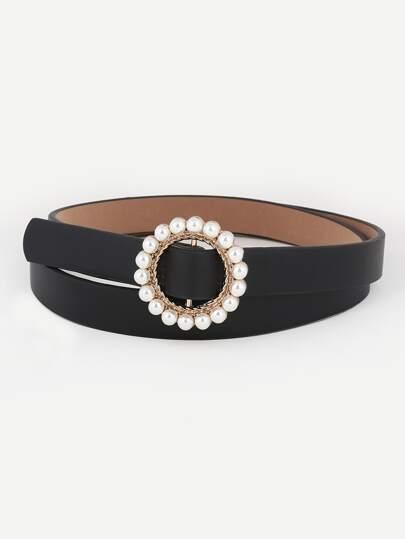 3720358eb345 Ceinture avec boucle décorée fausse perle