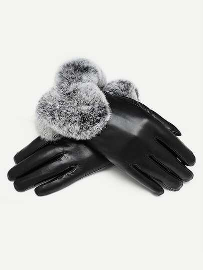 Contrast Faux Fur Gloves 3daafdbb3cc