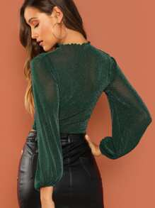 Mock Neck Bishop Sleeve Sheer Top Without Bra Shein Sheinside