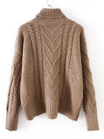 9aa6c13abd4a High Neck Cable Knit Solid Jumper -SheIn(Sheinside)
