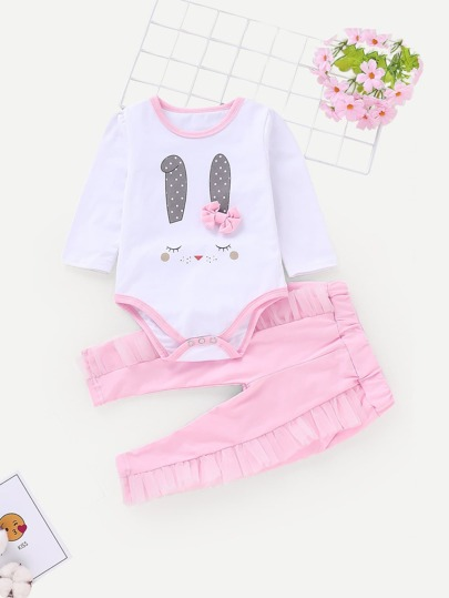 Baby Bow Detail Romper With Pants