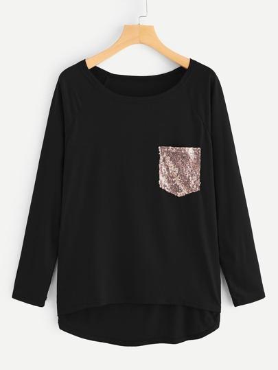T shirt avec poche pailletée