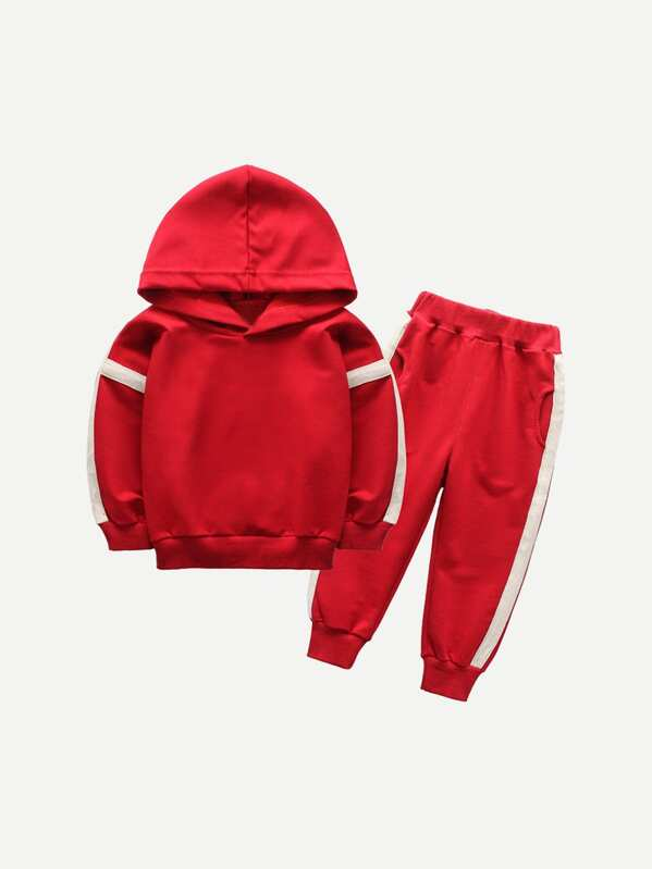 Toddler Boys Contrast Tape Side Hoodie With Pants
