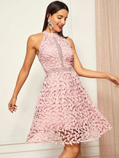 61cd38c7ca Halter Neck Guipure Lace Flared Dress