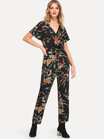 4c23368676a Surplice Neck Batwing Sleeve Self Belted Jumpsuit