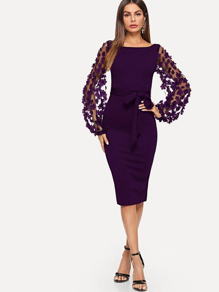 5bb52215ef7 3D Applique Mesh Sleeve Self Tie Dress