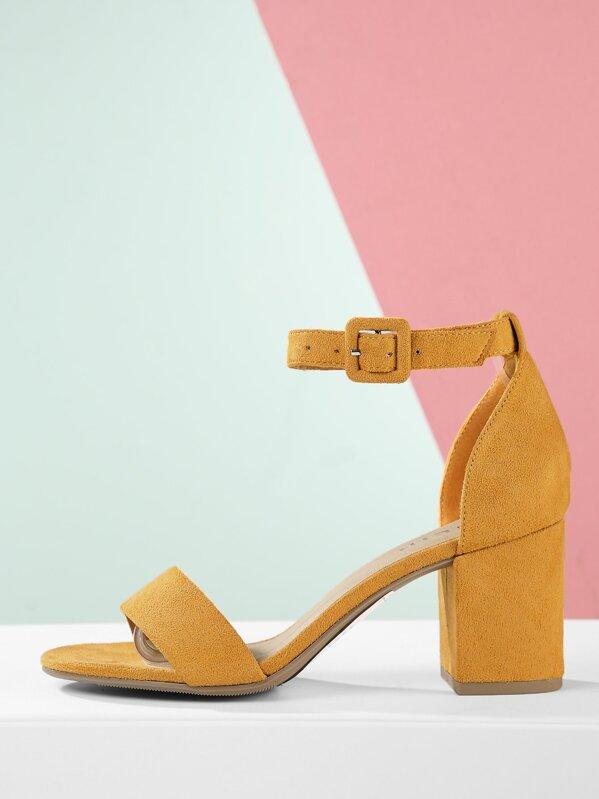 18f210567dd Faux Suede Ankle Strap Low Block Heel Sandals -SheIn(Sheinside)