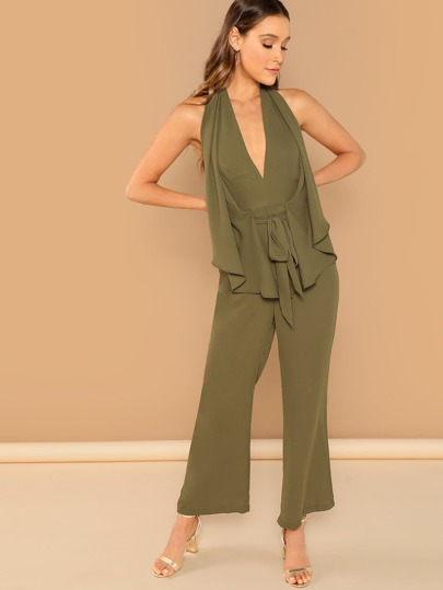 9846b8cf0df Plunging Neck Drawstring Waist Palazzo Jumpsuit