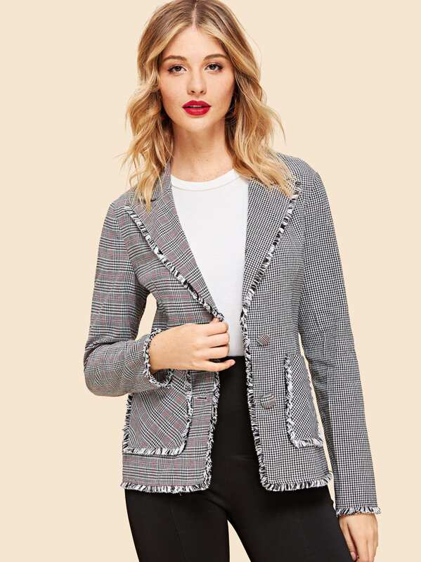 Pocket Front Frayed Plaid Blazer, Grey, Nathane