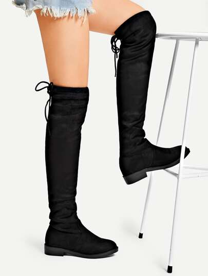 58ac3a7d23e Back Tie Thigh High Suede Boots