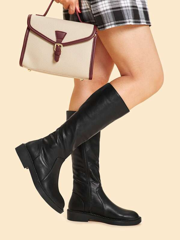 Plain Side Zip Pu Boots by Sheinside