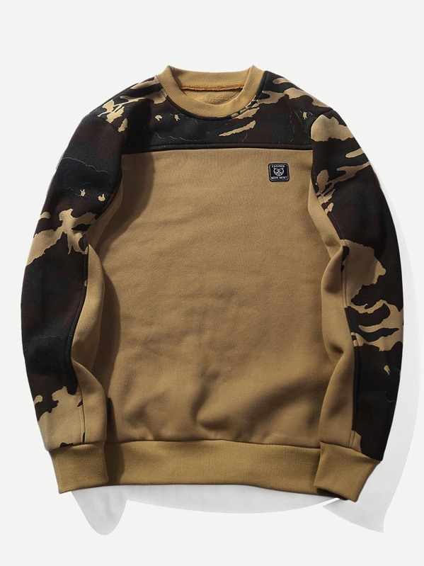 Men Color Block Camo Owl Applique Sweatshirt, Khaki
