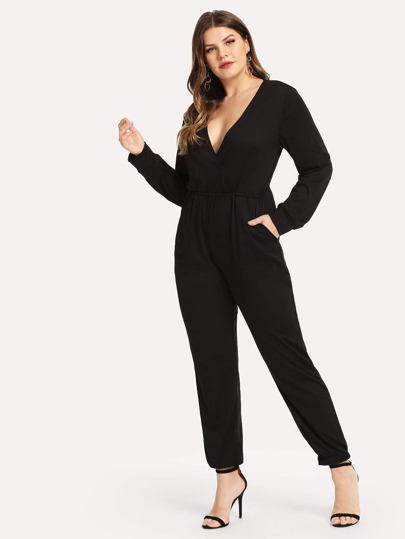 38aa2134706 Plus Solid V-Neck Jumpsuit