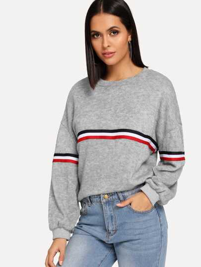 1175745945 Striped Tape Panel Sweater