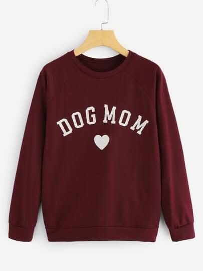 87dfac3c05a2 Letter Print Raglan Sleeve Sweatshirt