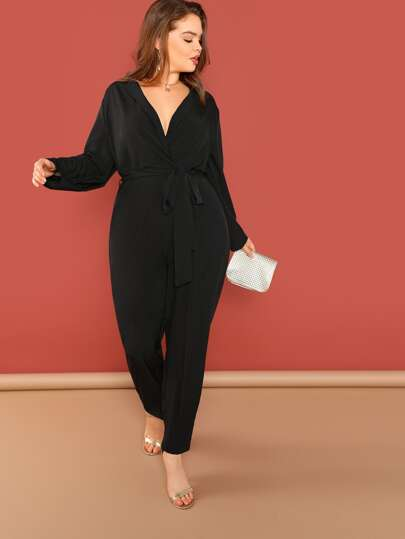 959f38b3c3c Plus Surplice Neck Slant Pocket Belted Jumpsuit